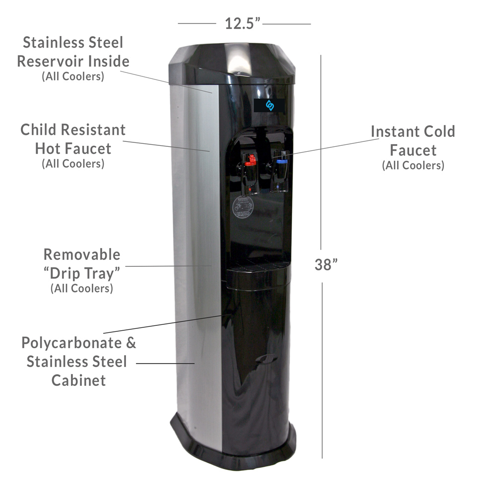 BDX1-SS - Stainless Steel BottleLess Water Cooler - Standing